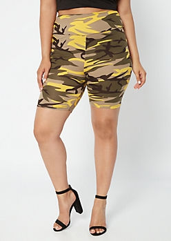 Plus Yellow Camo Print Super Soft Bike Shorts