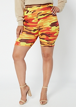 Plus Orange Camo Print Super Soft Bike Shorts