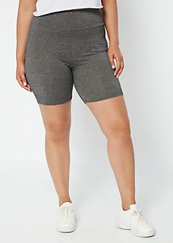 Plus Charcoal High Waisted Super Soft Bike Shorts