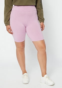 Plus Lavender High Waisted Super Soft Bike Shorts