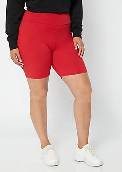 Plus Red High Waisted Super Soft Bike Shorts