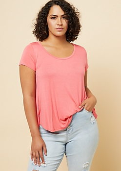 Plus Coral Pink Scoop Neck Swing Tee