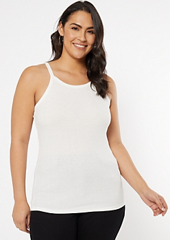 Plus White Ribbed Knit High Neck Tank Top