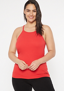 Plus Red Ribbed Knit High Neck Tank Top