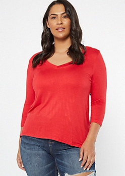 Plus Red V Neck High Low Tunic