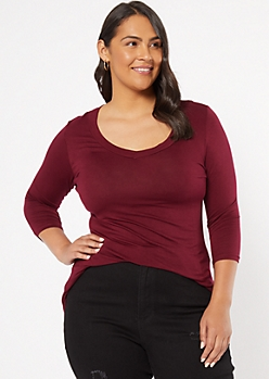 Plus Burgundy V Neck High Low Tunic