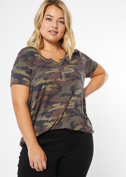 Plus Camo Print Button Down Henley Tee