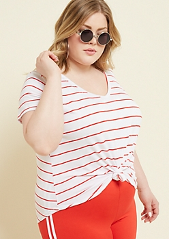 Plus Red Striped Favorite V Neck Tee