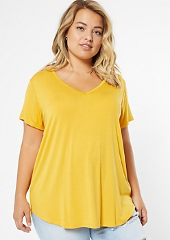 Plus Mustard Favorite V Neck Relaxed Tee