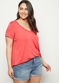 Plus Coral Favorite V Neck Relaxed Tee