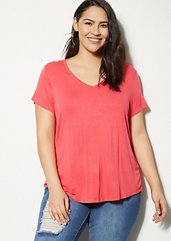 Plus Hot Pink Favorite V Neck Relaxed Tee