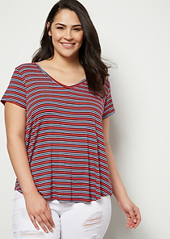 Plus Red Striped Favorite V Neck Relaxed Tee