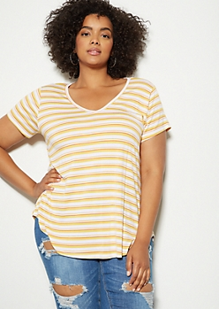 Plus Yellow Striped Favorite V Neck Relaxed Tee