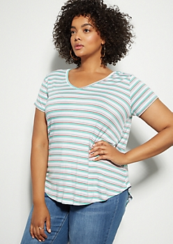 Plus Teal Striped Favorite V Neck Relaxed Tee