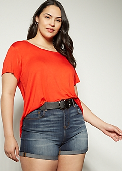 Plus Red Favorite Scoop Neck Relaxed Tee