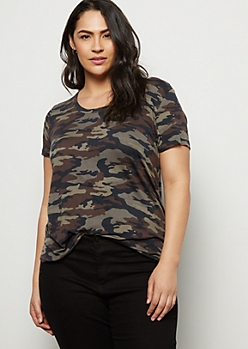 Plus Camo Print Favorite Scoop Neck Relaxed Tee