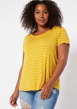 Plus Mustard Striped Scoop Neck Essential Tee