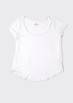 Plus White Favorite V Neck Relaxed Tee