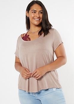 Plus Taupe Favorite V Neck Relaxed Tee