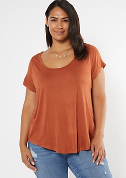 Plus Burnt Orange Favorite V Neck Relaxed Tee