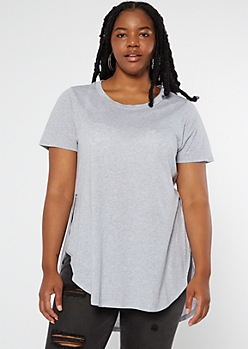 Plus Heather Gray Side Slit Tunic Tee