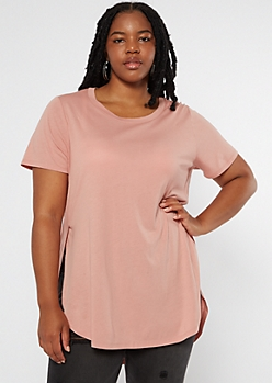 Plus Pink Side Slit Tunic Tee