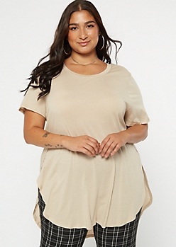 Plus Tan Side Slit Tunic Tee