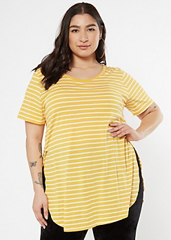 Plus Yellow Striped Side Slit Tunic Tee