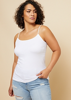 Plus White Basic Scoop Neck Cami