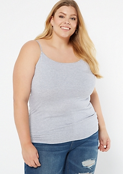 Plus Heather Gray Lined Essential Cami Tank Top