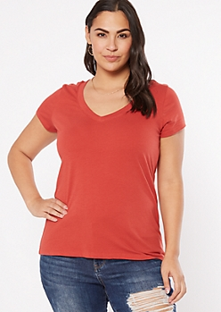 Plus Red V Neck Essential Tee