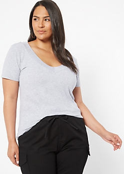 Plus Gray Wide V Neck Tee