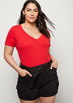 Plus Red Wide V Neck Tee