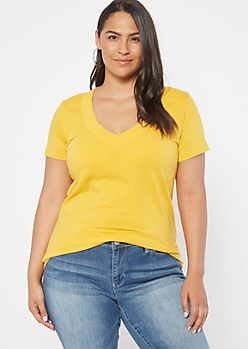 Plus Mustard Wide V Neck Tee
