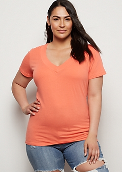 Plus Coral Wide V Neck Tee