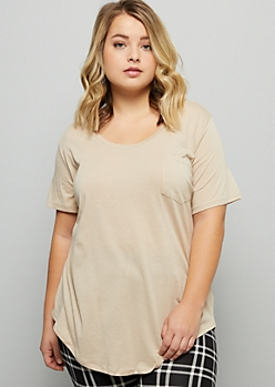 Plus Sand Chest Pocket Oversized Essential Tee