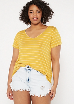 Plus Mustard Striped V Neck Favorite Tee