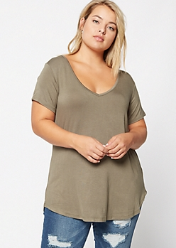 Plus Olive Favorite Relaxed Tee