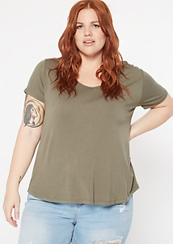 Plus Olive Favorite V Neck Relaxed Tee