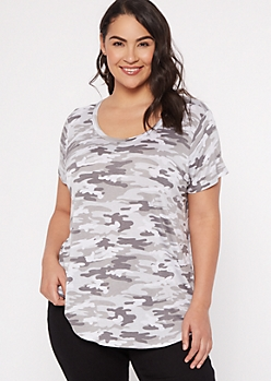 Plus Gray Camo Print Scoop Neck Favorite Tee