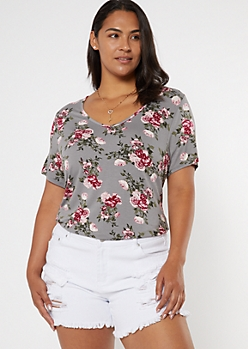 Plus Gray Floral Print Favorite Tunic Tee