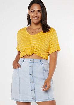Plus Mustard Striped Favorite Tunic Tee