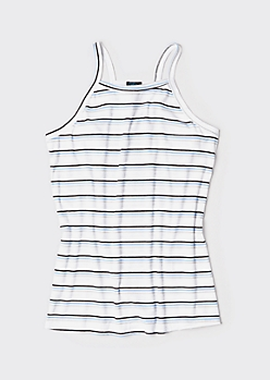 Plus Blue Striped High Neck Ribbed Tank Top