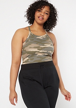 Plus Camo Print Ribbed Knit Halter Tank Top