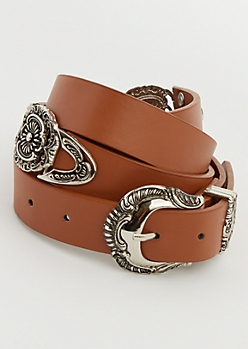 Cognac Western Medallion Belt - Wider Fit
