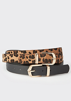 2-Pack Plus Leopard Print Square Buckle Belt Set