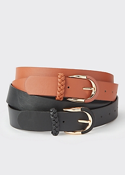 2-Pack Plus Cognac Braided Belt Set