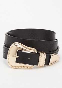 Plus Black Western Belt