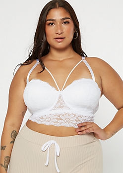 Plus White Strappy Longline Balconette Bra