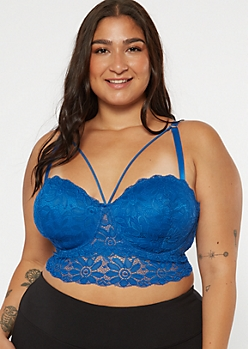 Plus Blue Strappy Longline Balconette Bra